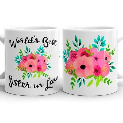 Sister in Law Gifts Worlds Best Sister in Law Coffee Mug Tea Cup Wedding
