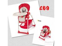 Brand new Hauck up n down highchair in red n white. Suitable from 3 months