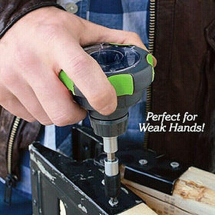 Ratcheting Palm Screwdriver for weak, arthritic hands Ergonomic Grip 14 Bits NIB Hand Tools
