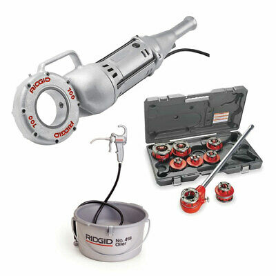 Ridgid 41935 Power Drive Threader Bundle W 36475 12-r Die Head Set And Oiler