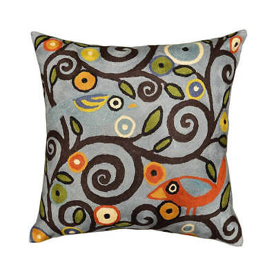 """Klimt Tree Of Life Birds Blue Throw Pillow Cover Hand Embroidered 18"""" x 18"""""""