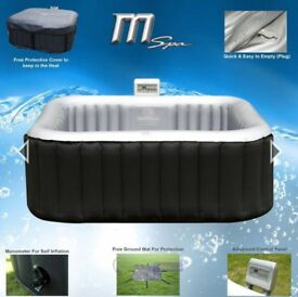MSPA Alpine Luxury Inflatable 2x2 Square portable hot tub spa system