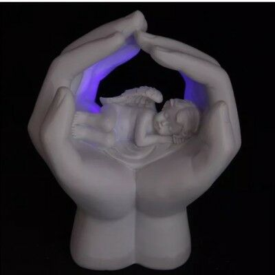 Sleeping Cherub In Hands With Led Changing Colour Light Best Gift  Height