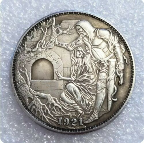 Hobo Nickel Grail Jesus Christ Medieval Kight Morgan Dollar Nickle Casted Coin