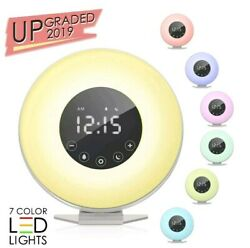 Sunrise Alarm Clock Wake Up Light 6 Nature Sounds FM Radio Natural 7 Colors LED