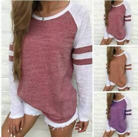 Ladies stripe sleeve top