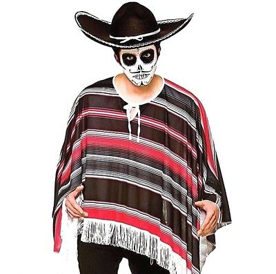 Adult DAY OF THE DEAD PONCHO Halloween  Mexican Bandit Mens Fancy Dress Costume