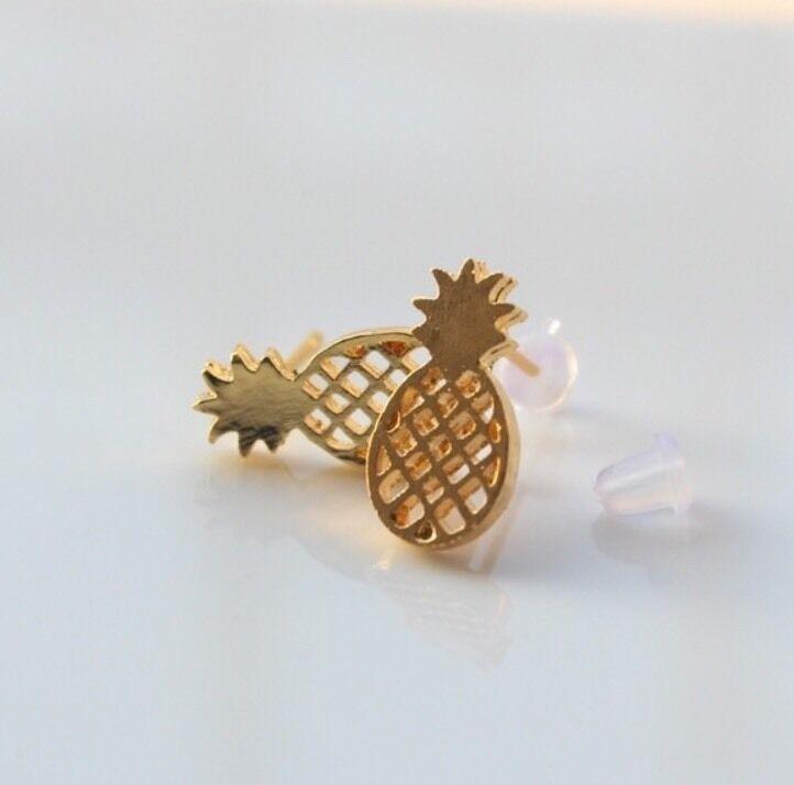 Gold Colored Pineapple Pierced Earrings Classic Aloha Gorgeous