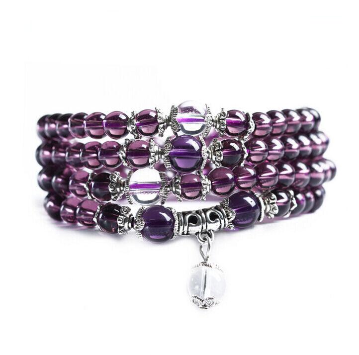 Hot 6mm stone Buddhist Amethyst 108 Prayer Beads Mala Bracelet Necklace #Hf00b