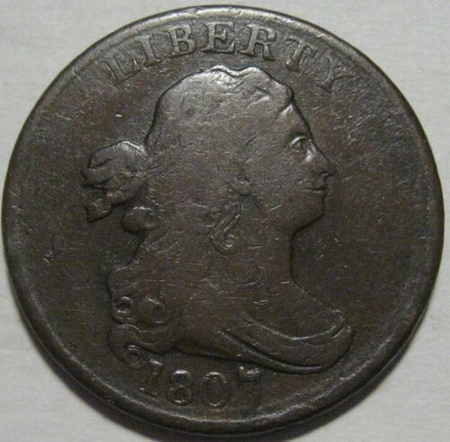 = 1807 FINE Half Cent, Nice Details, FREE Shipping