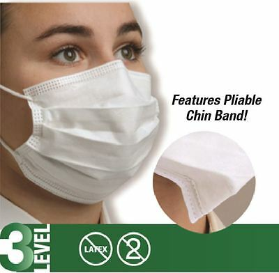 50 Xdefend Dual Fit Pleasted Earloop Surgical Flu Medical Face Mask Level3 White