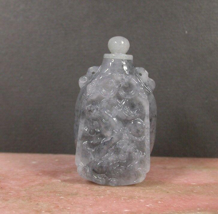 Certified Black 100% Natural A Jade jadeite Display Dragon Snuff Bottle 387960