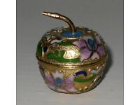 Miniature Enamel Apple Shaped Pill / Trinket Pot with flowers as decoration
