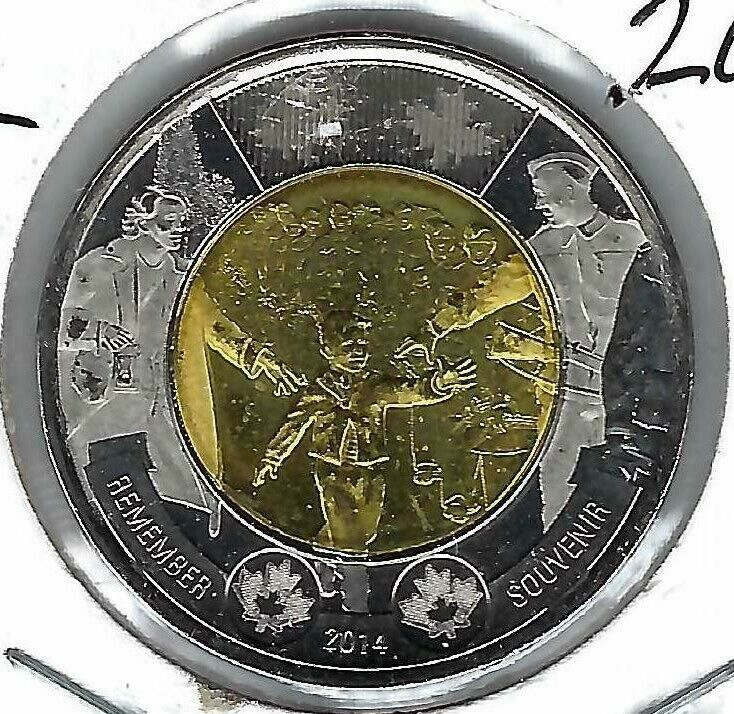 2014 Canadian Toonie Brilliant Uncirculated Commemorative WW1 Remember $2 Coin!