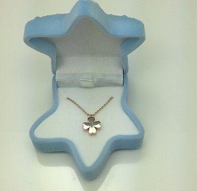 (18K GP marked women girls stainless steel chain pendant white jewelry box)