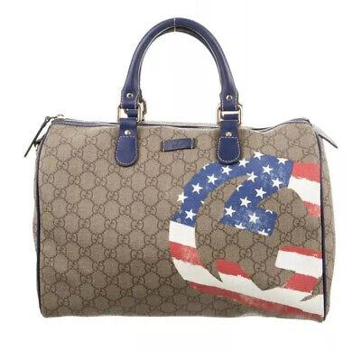 Gucci Boston Handbag GG Canvas American Flag