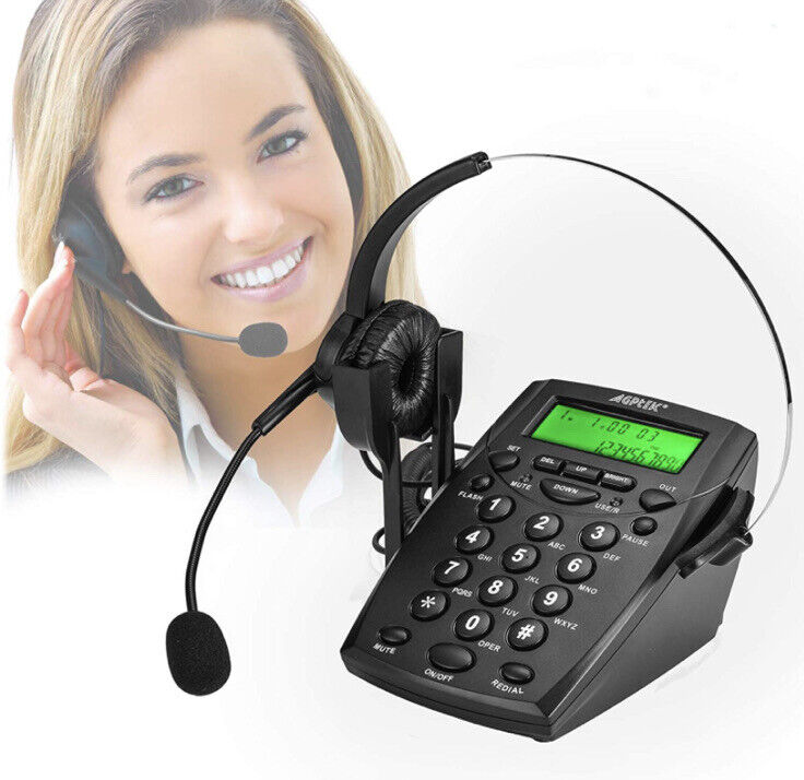 AGPtek Call Center Dialpad Corded Headset Office Telephone with Corded Headset