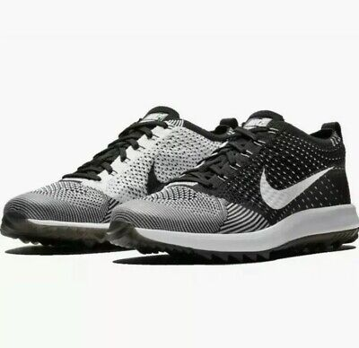 Nike Flyknit Racer G Golf Shoes Oreo Black White 909756-001 Men's Size 13