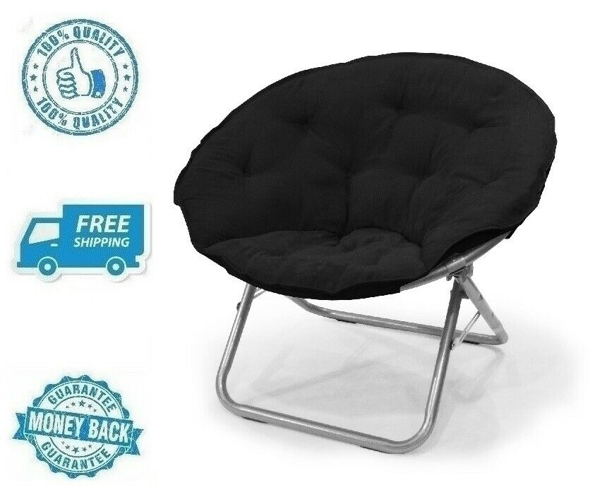 New Black Large Microsuede Saucer Chair
