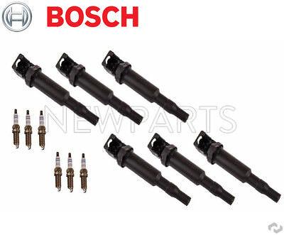 BMW 128i 328i Set of 6 Orig Version Direct Ignition Coils and Spark Plugs Bosch
