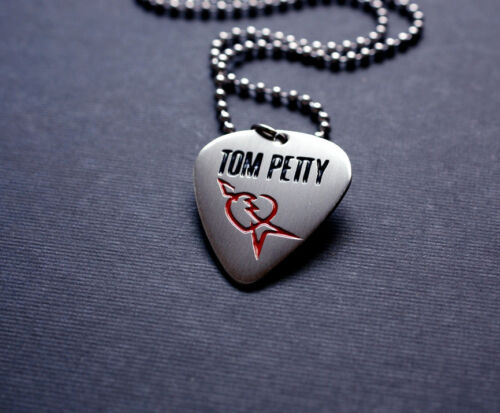 Handmade Etched Nickel Silver Tom Petty Guitar Pick Necklace - Donation Sale