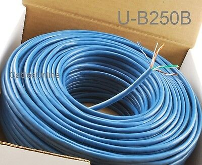 250ft Cat5e 350MHz UTP 24AWG solid pure copper, Riser Rated CMR Bulk Cable, (350mhz 24awg Solid Utp Cable)