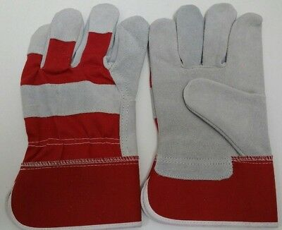 12 Pairs  Cow Split Leather Work Gloves Large Red