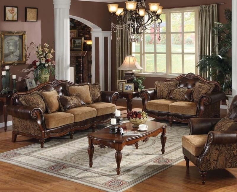 Formal Bonded Leather 2pc Sofa Set Chenille Sofa & Loveseat Traditional Couch