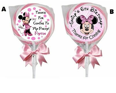 - PINK MINNIE MOUSE BIRTHDAY LOLLIPOP CUSTOM PARTY STICKERS FAVORS 1.5