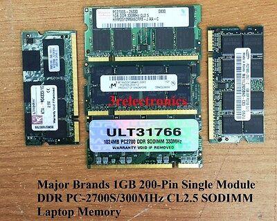 1GB Single Module 200-Pin DDR PC-2700S 333MHz CL2.5 NON-ECC SDRAM SODIMM LAPTOP
