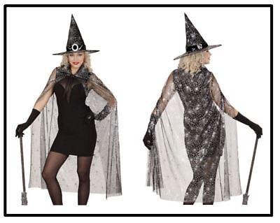 Hexen Set Spinnen Umhang & Hut Halloween Karneval - Spinnennetz Hexe Kostüme