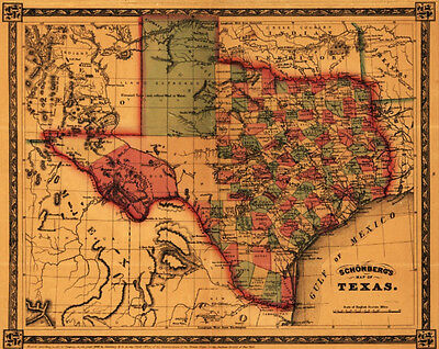 Vintage Giclee Canvas (Canvas Giclee Home Wall Prints Vintage Old Texas Map Photo Print Color Picture 2)
