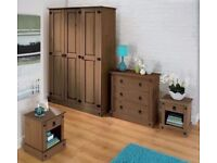Brand New Mexican 4 Piece Pine Wardrobe Chest 2 Bedside Table Bedroom Set - Dark Wood