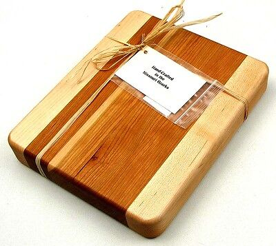 "Edge Grain Cherry & Maple Chopping Block Cutting Board Kitchen Decor 10x1.5x8"""