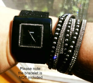 ***GORGEOUS BLACK WITH BLING GUESS WATCH MINT COND, VERY CLASSY!