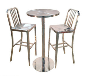 Brushed Stainless Steel Bar Table Set