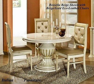Versace Greek Key Design Rossella Biege/Gold Round Dining Table 4 Fabric Chairs