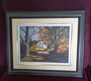 Oil Painting - autumn scene of house and trees