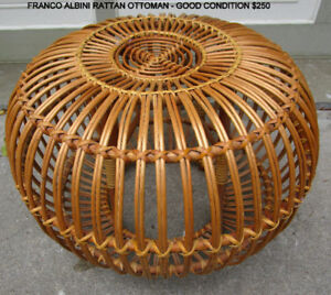 FRANCO ALBINI RATTAN OTTOMAN/TABLE -GOOD COND.