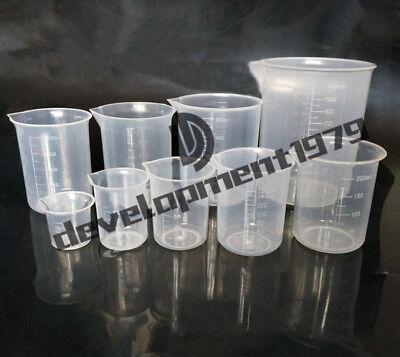 4x New Plastic Measuring Beaker Set 50ml100ml250ml500ml