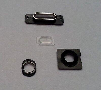 Silber, Glas, Audio (iPhone 5S Schwarz Silber Kamera Glas Abdeckung Rahmen Blitzlicht Dock Audio Ring)