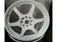 17 Inch Team Dynamic DRIFTZ Vortex White Alloy Wheels 4x100/114