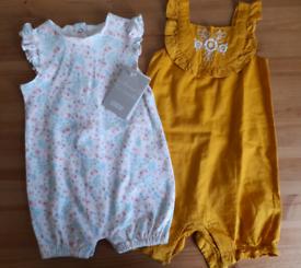 6-9m baby girls rompers - Mamas and Papas, Matalan