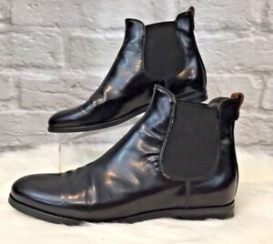 Ladies Luxury ItalianMade Black Leather Chelsea Ankle Boots 37.5