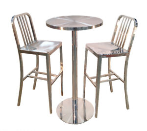 Brushed Stainless Steel Bar Table Set ($375)