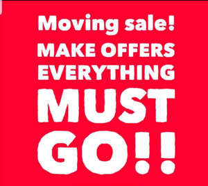 EVERYTHING MUST GO ~FURNITURE FOR SALE. MOVING SALE ITEMS
