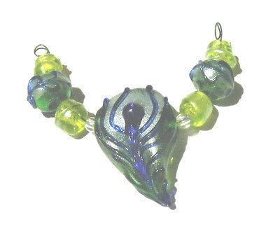 LNT- Handmade Lampwork Beads- WILDLIFE Series Nc2089- Feather - SRA- Mini set