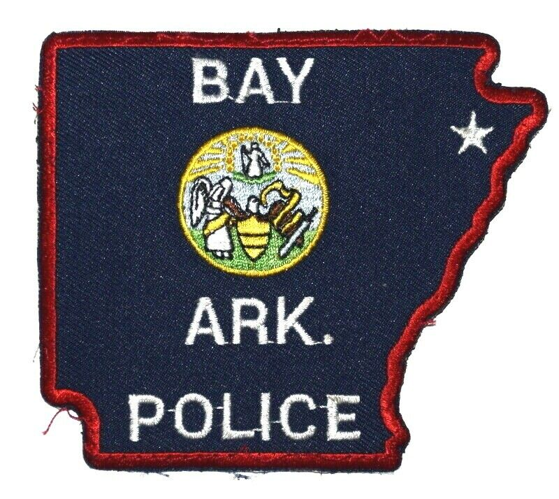 BAY ARKANSAS AR Sheriff Police Patch – STATE SHAPE – STATE SEAL ANGEL ~