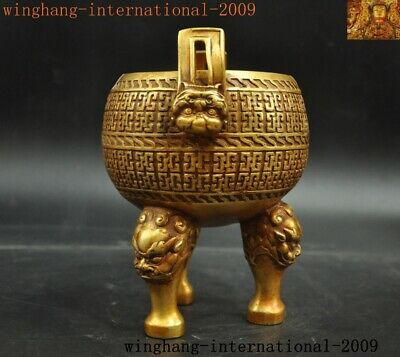 "3.9/"" Curio Old China Bronze Dynasty Lion Beast Head Small Incense Burner Censer"