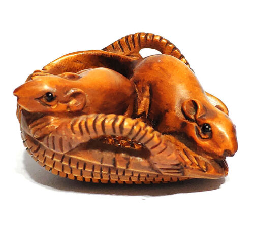 """Y6818 - 2 """" Hand Carved Japanese Boxwood Netsuke - 2 Mice on Seive"""
